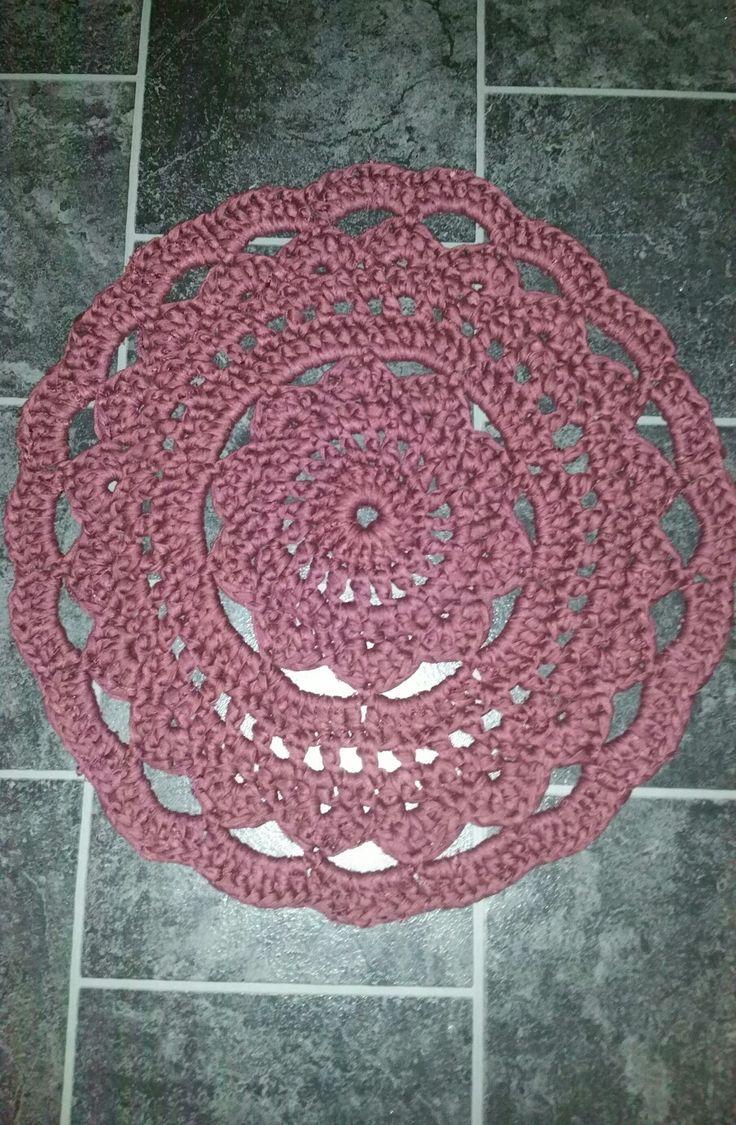 Crochet doily rug.