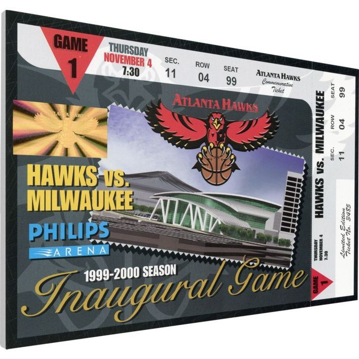 That's My Ticket Atlanta Hawks Philips Arena Inaugural Game Canvas Ticket, Team