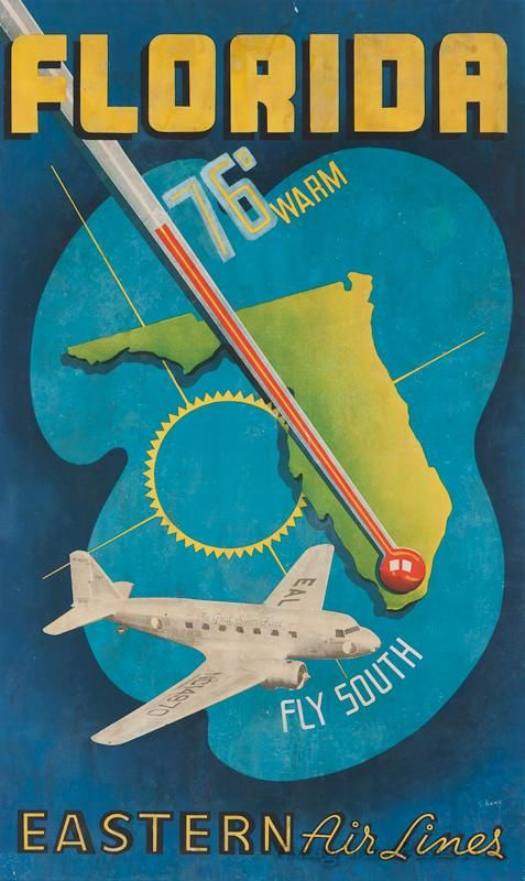Eastern Airlines 'Florida - Fly South' classic travel poster