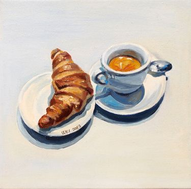 """Italian Breakfast,"" original figurative painting by artist  Silenco Studio available at Saatchi Art #SaatchiArt"