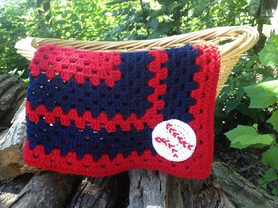 Pattern for St. Louis Cardinals, Boston Rex Sox, Atlanta Braves Baseball Baby Blanket on Etsy, $4.00