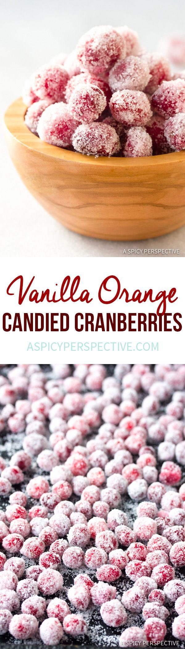 Holiday Vanilla Orange Candied Cranberries Recipe | ASpicyPerspective.com #thanksgiving #christmas via @spicyperspectiv