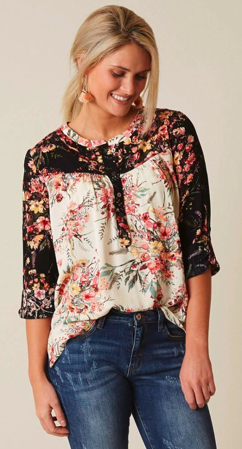 Floral Shirts for Women : Miss Me Floral Henley | Buckle