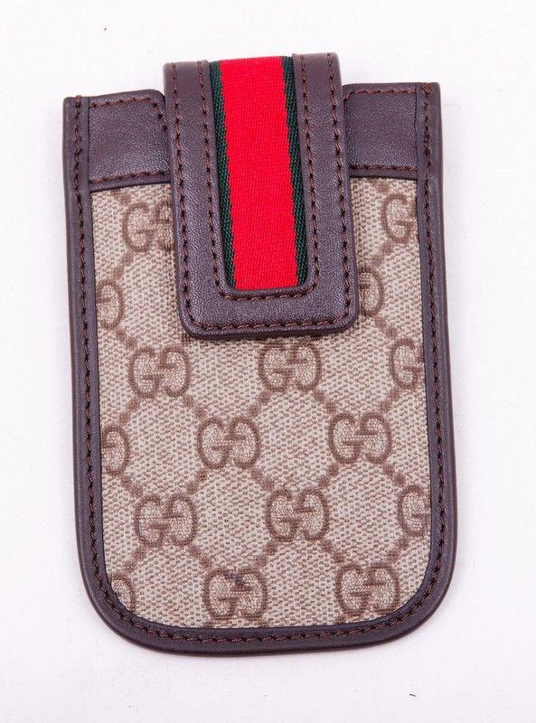 Чехол для iPhone 4/4S Gucci (Гуччи) кожаный, коричневого цвета. Внутренний размер 11.5x6cm #19538 !! Распродажа модели !! Модель со скидкой !!