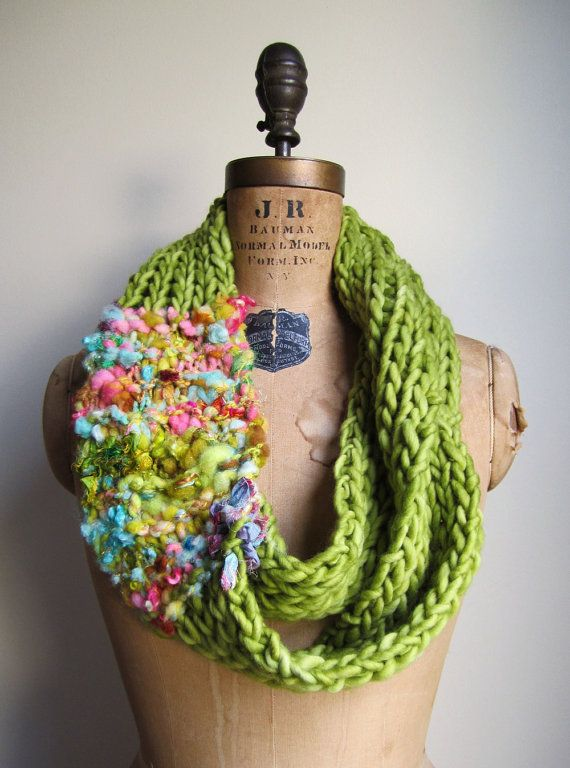 Love the use of art yarn with plain yarn! Bohemian knit loop infinity scarf. Chartreuse. Pink. Turquoise.