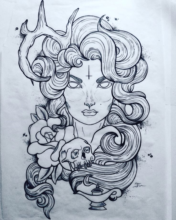 Neo Traditional Art Woman With One Horn Skull Rose Ma