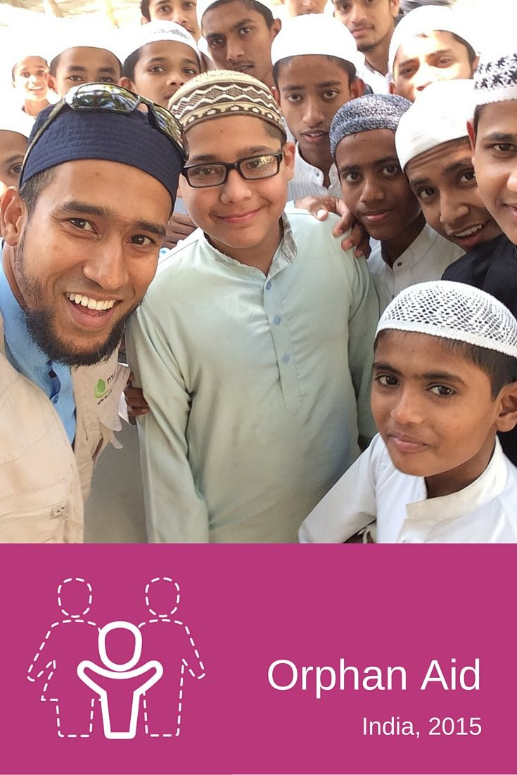 Muslim Aid Australia in INDIA, 2015. Our International Projects Manager, Taupheeq takes a selfie with some of the orphans we support in India.