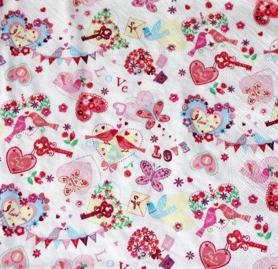 Decoupage napkin butterfly bird pink paper napkin by Napkintime