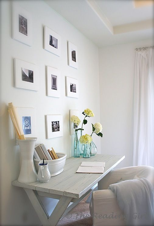 SallyL: The Reading Girl – Simple, whitewashed desk with Ikea Tullsta Chair. White framed black …