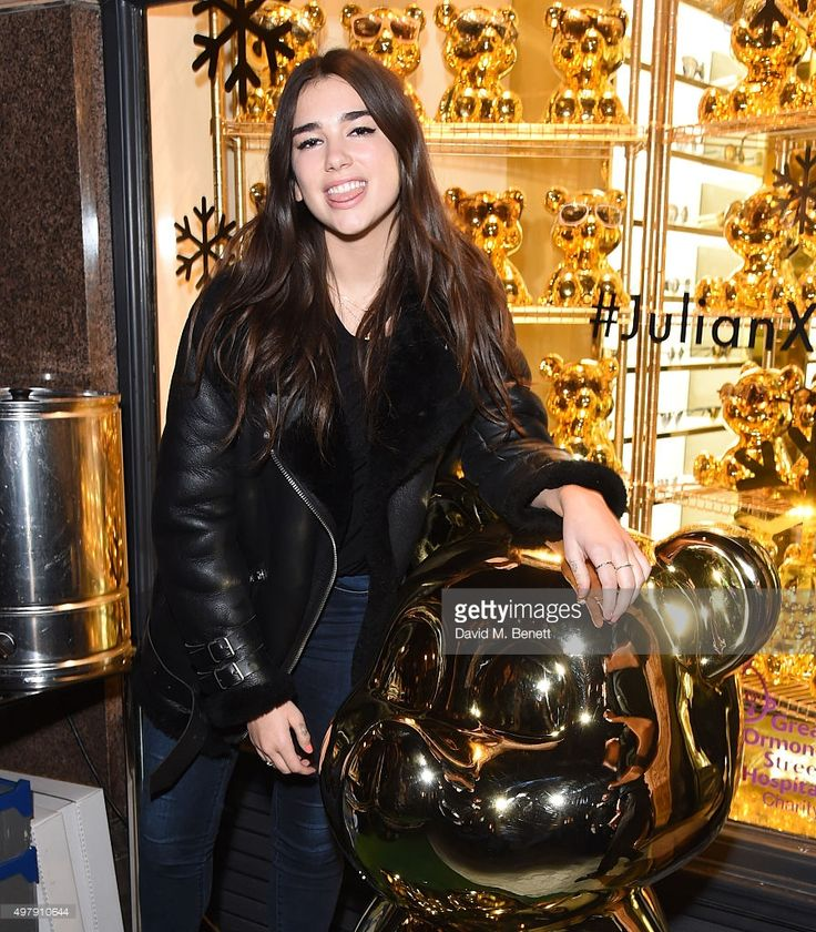 Dua Lipa attends the Mount Street Christmas Lights switch on hosted by Linda Farrow featuring the launch of Julian The Bear, the Linda Farrow Holiday Bear in aid of Great Ormond Street Hospital Children's Charity, on November 19, 2015 in London, England.