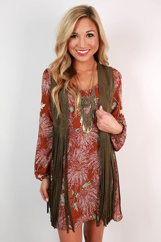 I have a cute fringe vest but I need a cute dress like this to wear it with.. This one may be a little too short.