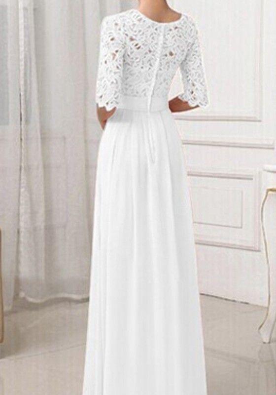 Weiß Damen Langarm Spitze MaxiKleid Lange Abendkleid ...