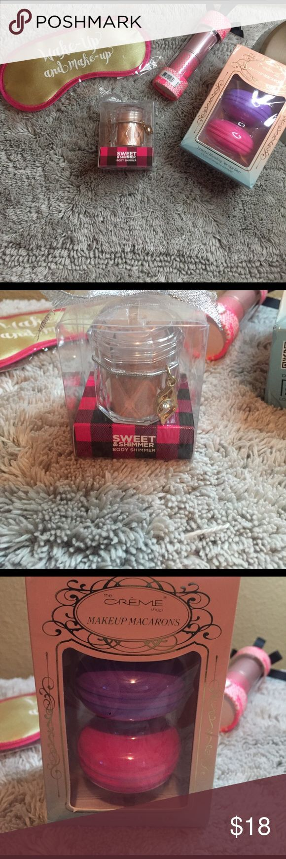 Beauty Bundle 💟🎀 Wake Up & Makeup. Victoria's Secret Crush. Makeup Macarons Sponge. Sweet & Shimmer Body Shimmer Makeup