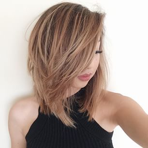 Haircut    Cute medium, mid length layered hairstyle, caramel highlights