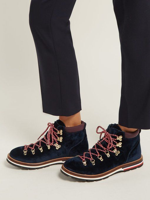 98448eb01d0 Moncler Blanche velvet lace-up mountain boots | FASHION /// Style ...