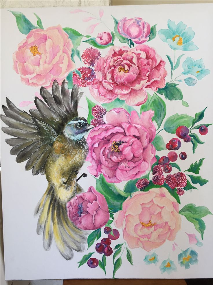 Peonies and fantail bird, watercolour painting with pen detail