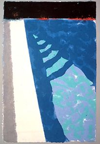 DAVID HOCKNEY / Paper Pools / Steps With Shadow, 1978  colored and pressed paper pulp  50 1/2 x 33 1/2 in.