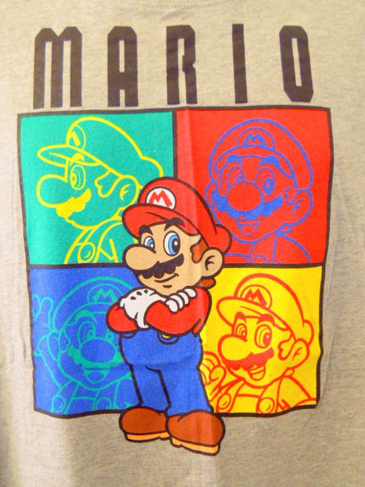Super Mario XL Gray Tee Shirt 201 Four 4 Faces Yellow Green Blue Red Video Game #Mario #ShortSleeve