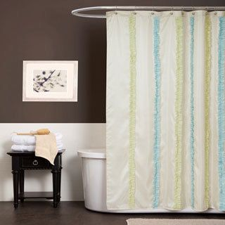 lush decor aria shower curtain bright and cheery the green and blue ruffled ribbon strips stand out on the ivory faux silk background