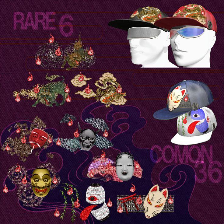 帽子の柄は9種類。 帽子本体の色が6色に変えられます。  RAREはOBAKEといいながら霊獣3種 獅子、獏、龍。  COMONは能面4種とちょうちんおばけときつねさんの6種類です。 帽子本体の色はかわりませんが、絵の色が4色に変えられます。  SIMOPENは本日SLT0:00です! あそびにいってね@ORIGAMI