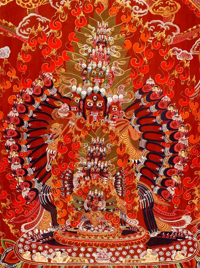 Thangkas and Sacred Tibetan Art - the decoration on the head is somewhat similar to ancient Egypt (lines). The three faces are something like we would call trinity, in the west.