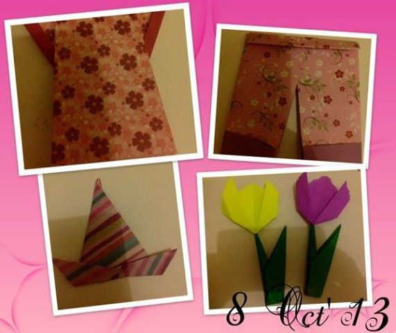 After School Activity:  Origami sederhana: gaun, celana, topi sombrero, taman tulip