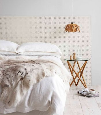 Real Living Mag April 2012 - DIY Bedhead Ideas Pegboard minimalist (photography: maree homer, styling/project: erin michael) How to: http://homes.ninemsn.com.au/diy/craftprojects/8435118/pegboard-headboard