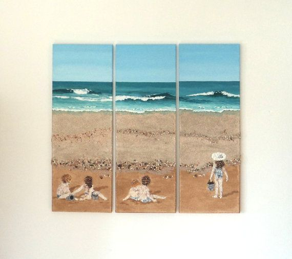 Acrylic Painting, Beach Artwork with Seashells and Sand, Triptych of Children on Beach in Seashell Mosaic, Mosaic Art, 3D Art Collage, Home Decor, Wall Decor #ArtworkwithSeashells #mosaiccollage #seashellmosaic #homedecor #walldecor #3D