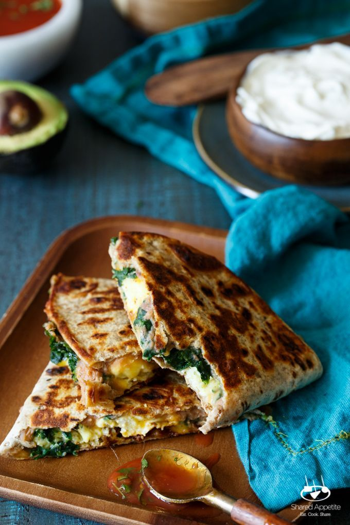 Breakfast Chorizo Quesadilla Topped With A Fried Egg Recipe ...
