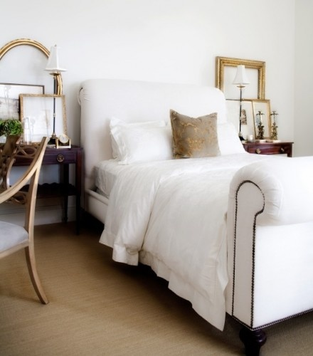 White slipper bed with nailhead detailing and pops of gold: Decor, Beds, Bennett Interiors, Jessica Bennett, Bedrooms, Sleigh Bed, White Bedroom, Traditional Bedroom