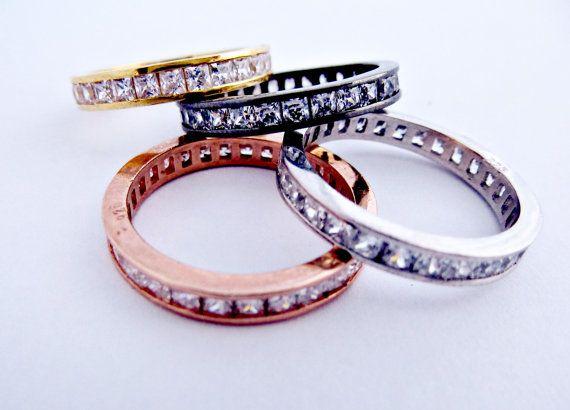 Sterling silver 925 cubic zirconia ring, Diamond, Wedding band, Gold ring, Rose Gold ring, Yellow gold ring, Rhodium ring.