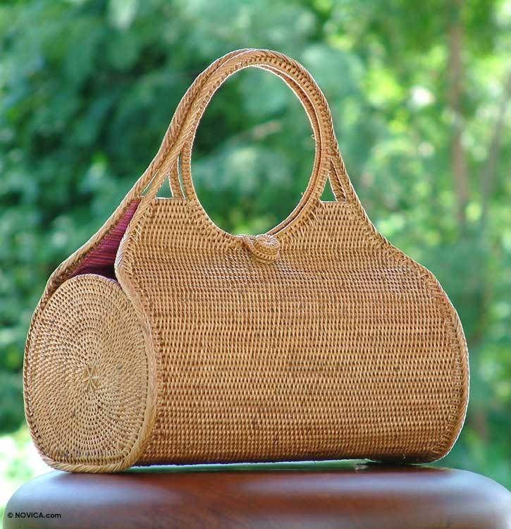Handwoven Straw Handbag from Indonesia $99