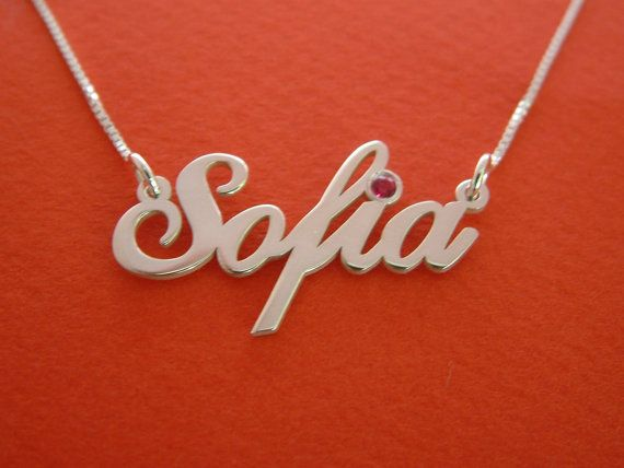 *Free Shipping*  This silver name necklace inspired by Sofia is a stylish birthday gift. This sterling silver personalized name necklace is so