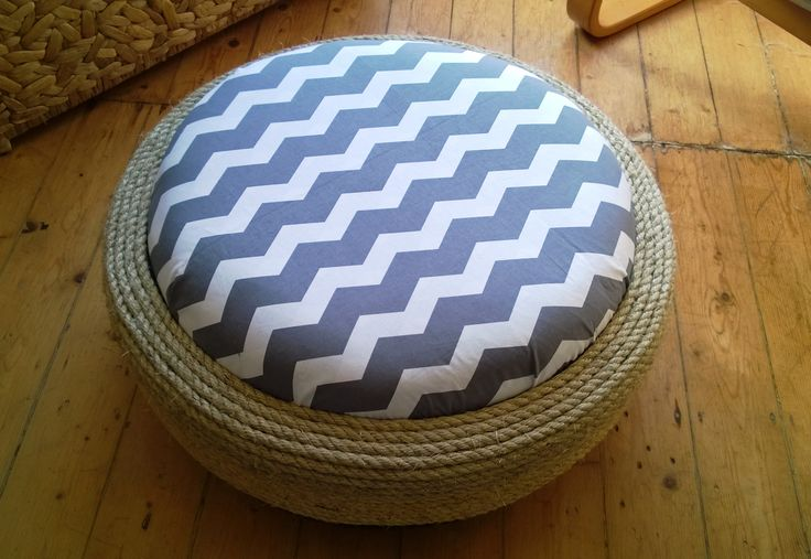 New Up-Cycled Tyre Ottoman designs by Woollysaurus: Grey Chevron