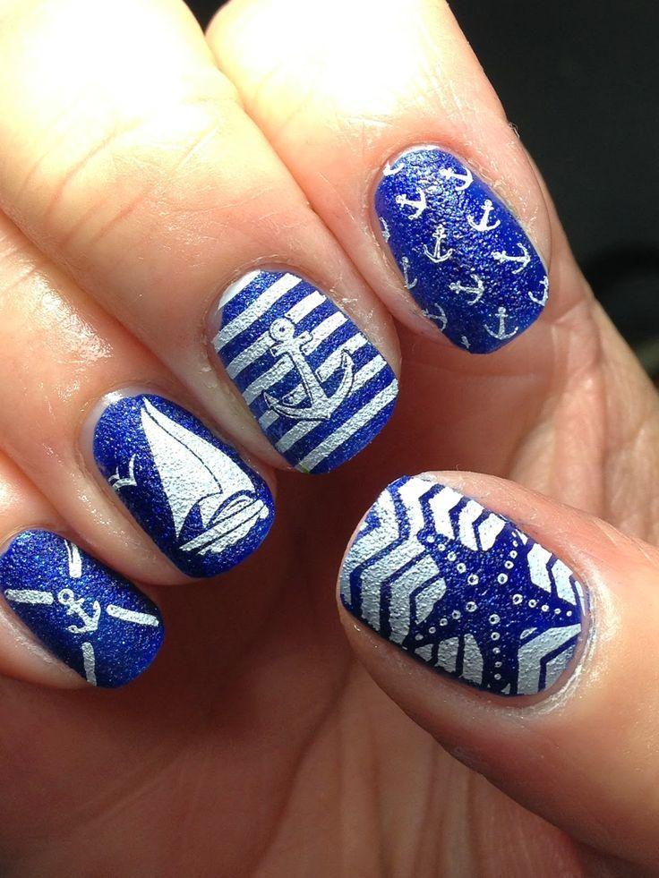 blue nautical nail art