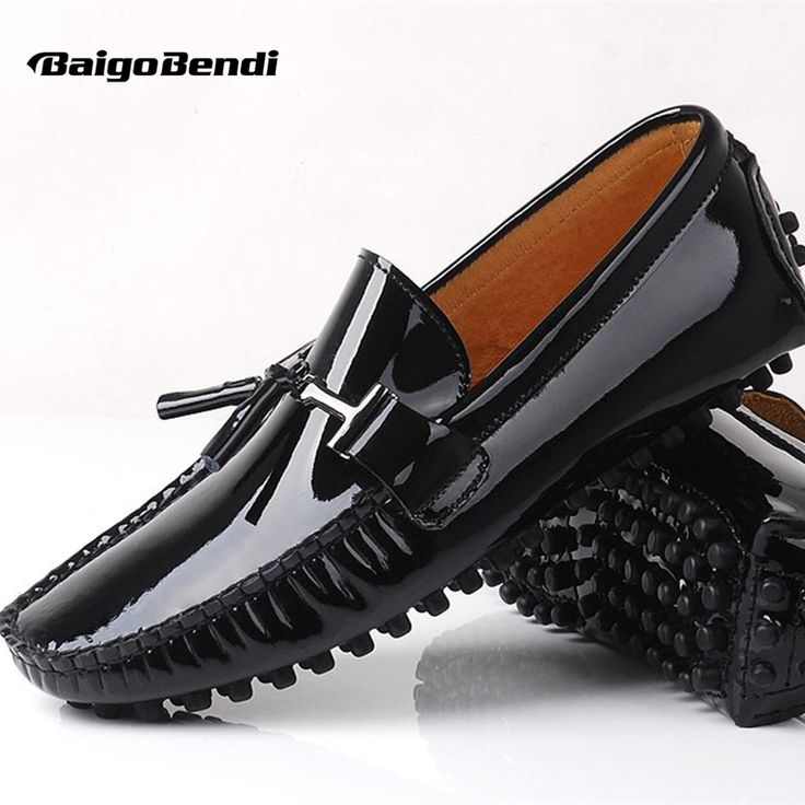 >> Click to Buy << Big Size US 11 12 EUR 45 46 Genuine Leather Patent Leather Men Tassel Loafer Slip on Dress Shoes Black Driving Shoes #Affiliate