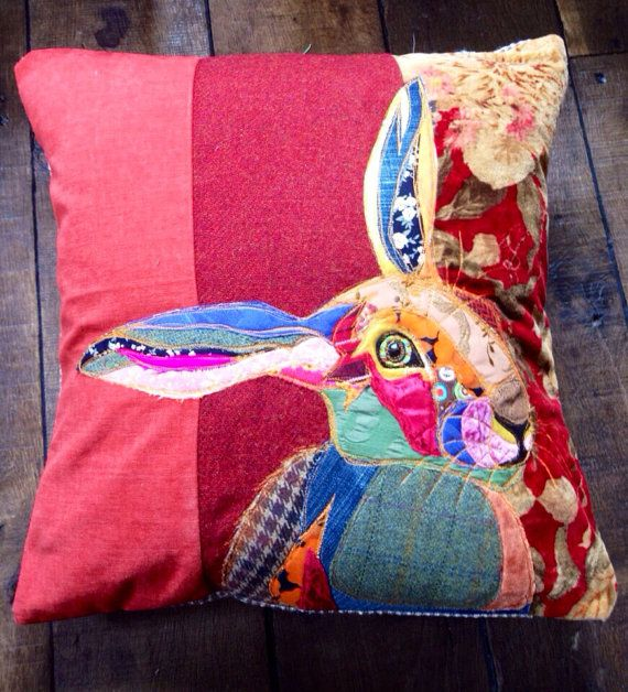 Hand made appliqued pillow of a hare on a velvet by PandRCreations