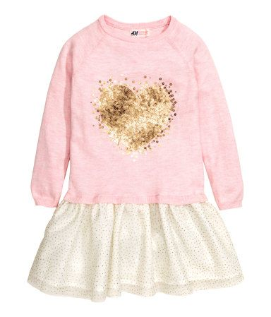 Dress with Tulle Skirt | Light pink/heart | Kids | H&M US