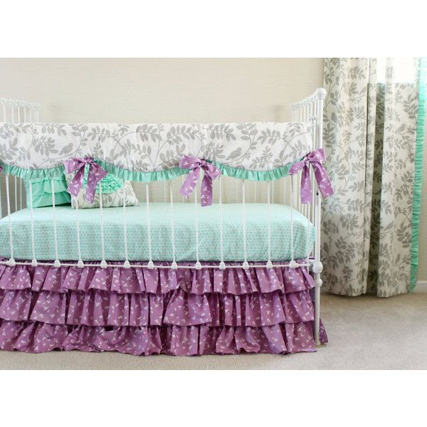 Purple Crib Bedding Mint and Purple Baby Girl Bedding Set Bumperless... ($320) ❤ liked on Polyvore featuring home, children's room, children's bedding, baby bedding, bedding, grey and home & living