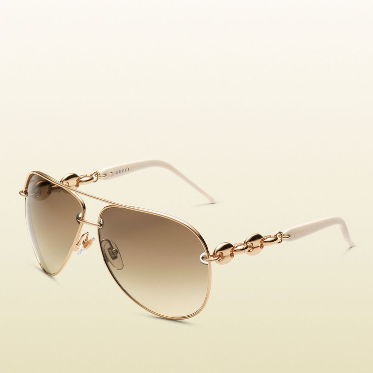 Gucci women's white aviator sunglasses
