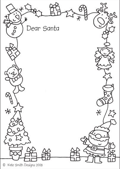 Letter for Santa (to colour in) - Kate Smith Designs| Letters from Santa Holiday Blog || 10 Perfect Santa Letter templates for your little ones to send their wishes to Santa, and have a little fun along the way!