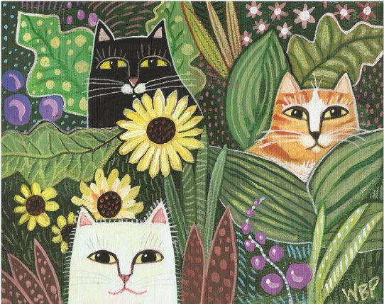 PATCHWORK CATS  - Cat Painting Signed Print by Wendy Presseisen - Garden Cats Folk Art Print
