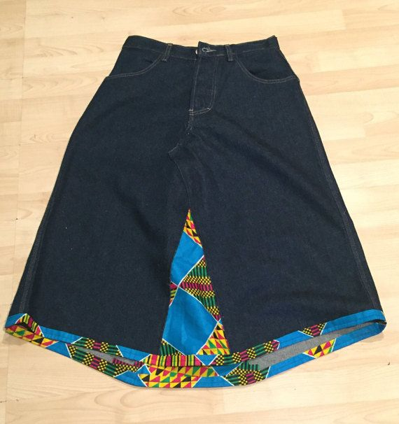 A Line Denim Maxi Skirt with African Kente panelling and trim detail