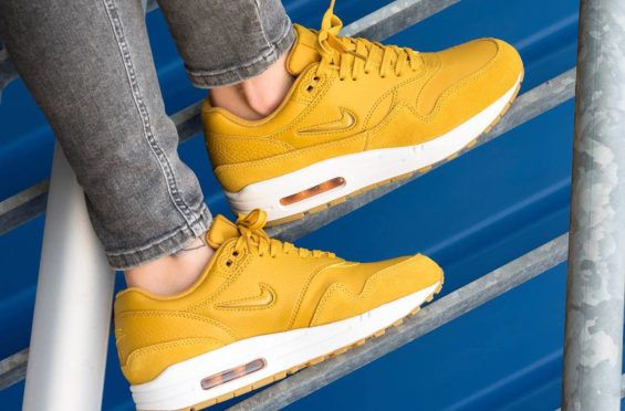 a86ece87af Mineral Yellow Shines On The Nike Air Max 1 Premium Jewel The Nike Air Max 1