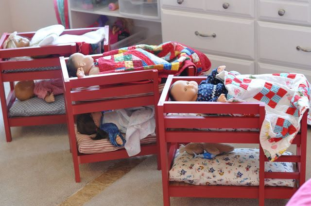 "Doll bunkbeds - free plans from Ana White. Fits dolls up to 18""!"