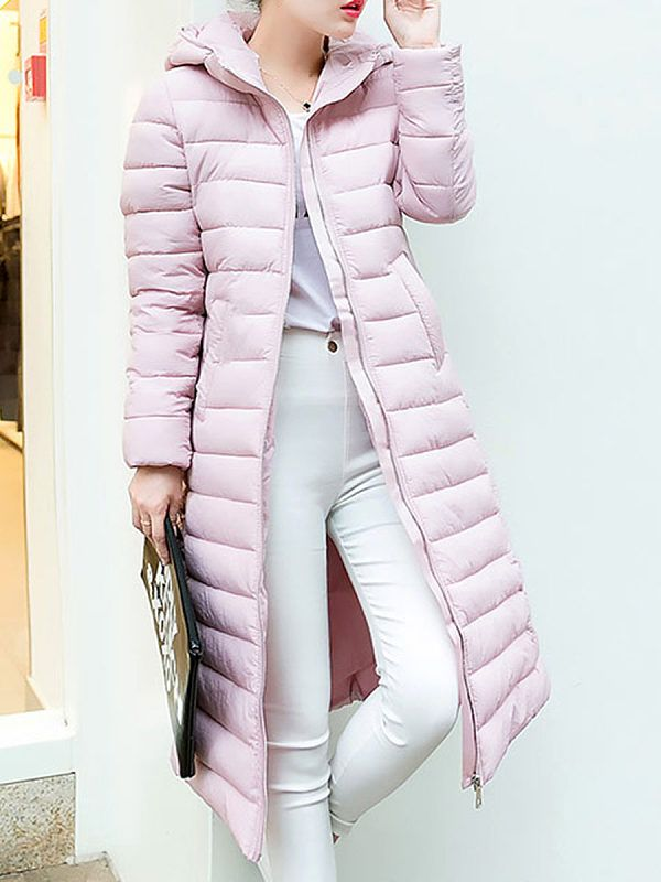 296e88db60f Hooded Plain Coat in 2019 | dresses | Coat, Jackets, Winter jackets