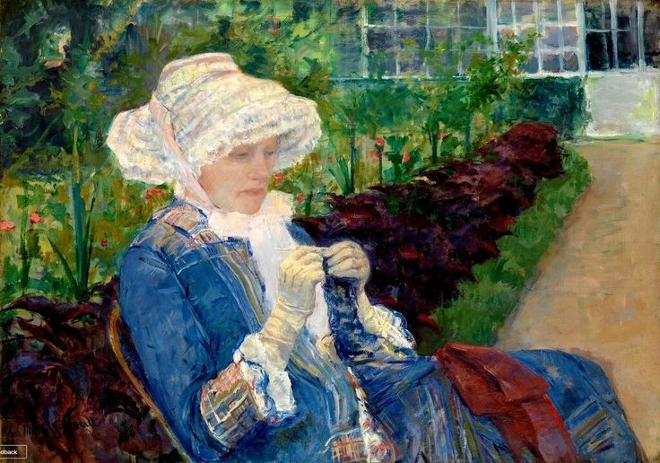 Another old painting of a woman knitting.