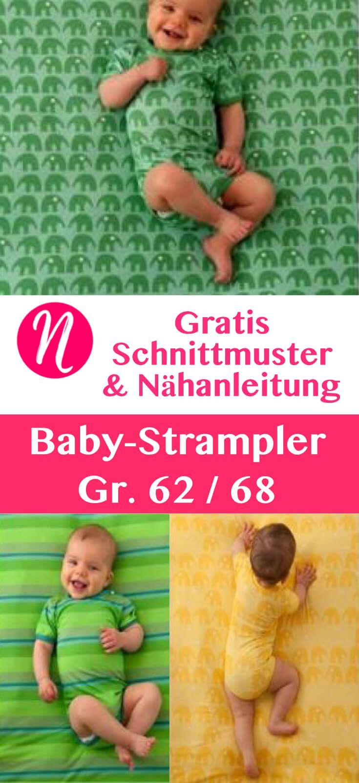 Kostenloses Schnittmuster für einen Baby-Strampler in Gr. 62 & 68 mit Anleitung . PDF zum Ausdrucken ✂ Nähtalente - Magazin für kostenlose Schnittmuster ✂