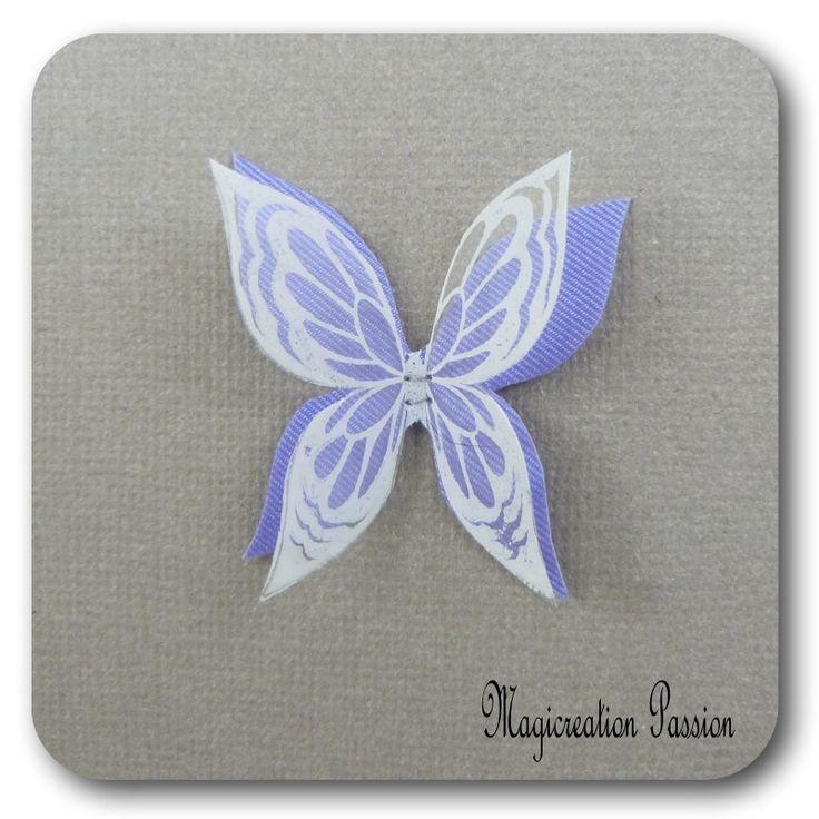 doubles ailes de papillon 3.5 cm soie violet transparent motifs blancs - Ysatis : Décoration d'intérieur par les-tiroirs-de-magicreation-passion