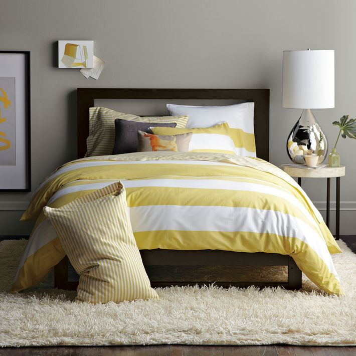 Yellow And Grey Bedroom Themes: Yellow Stripes